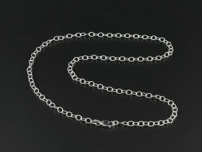 "Argentium 18"" Silver Chain, Textured Oval Cable Links 4.6 x 3.6mm"