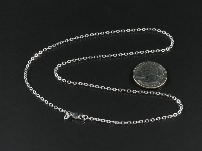 """Argentium 18"""" Silver Chain;  2.8 x 2.2mm Flat Oval Cable Chain"""