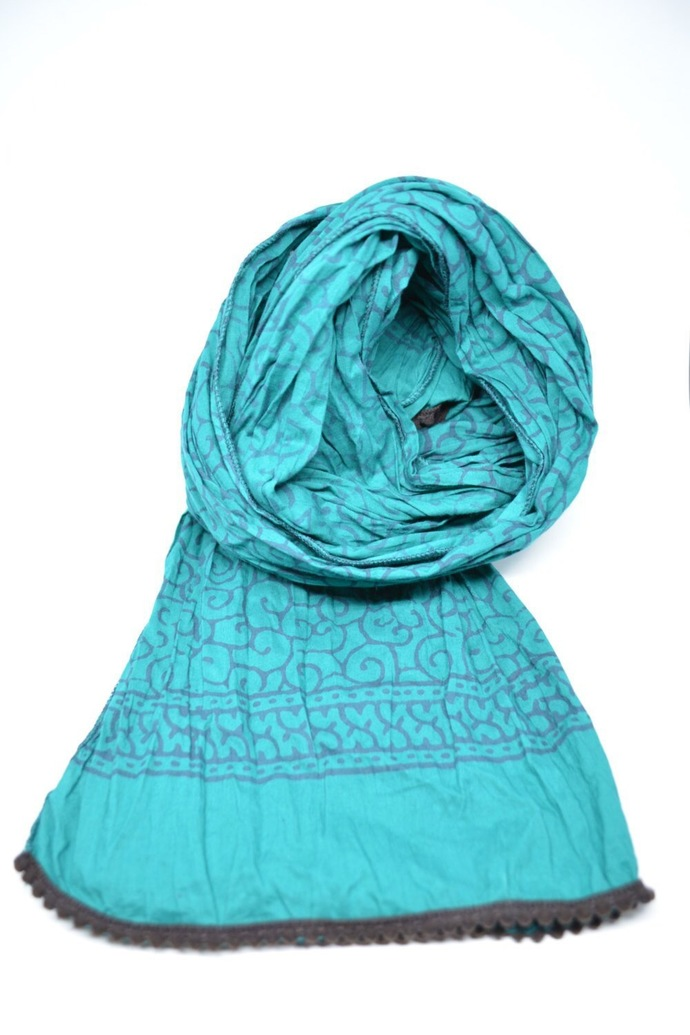 Cotton Scarf Block Print Teal Hand Printed Unisex Boho Chic Stole Mens Scarf