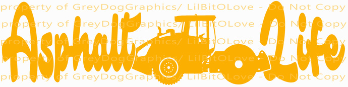 Asphalt Life Vinyl Decal with Steamroller in the Center Sticker Road