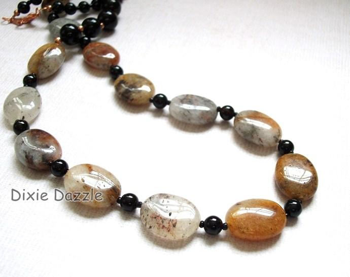 Quartz jewelry, black onyx and hematoid quartz copper necklace. Earthtone