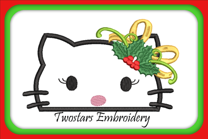 Kitty Christmas peeker 5x7 6x10 digital file with fill and applique. Embroidery