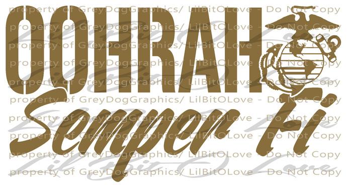 Oohrah Semper Fi Vinyl Decal Sticker USMC Marine Corps Mom Wife Girlfriend EGA