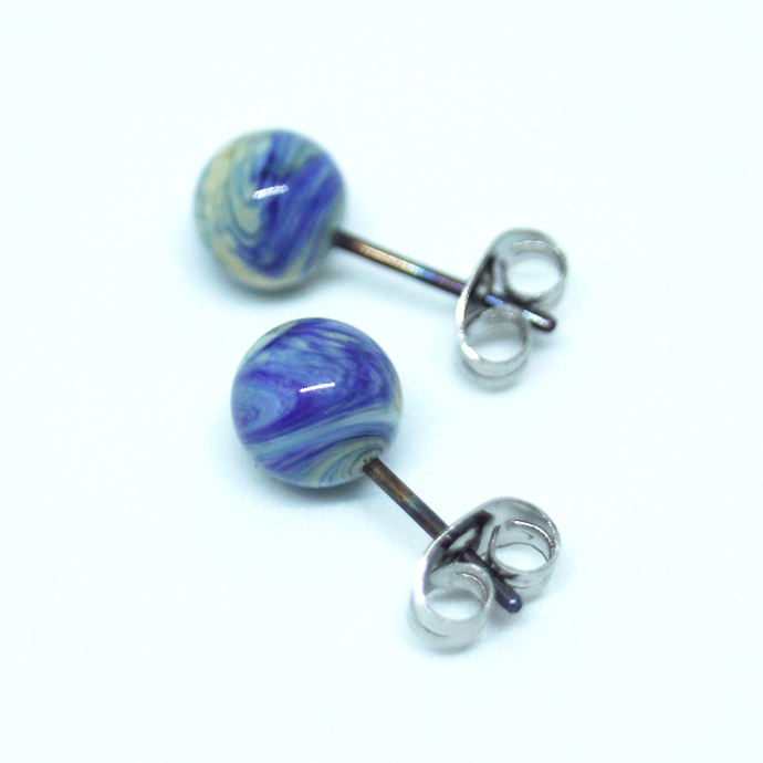Small Ball ear studs, organic cobalt blue