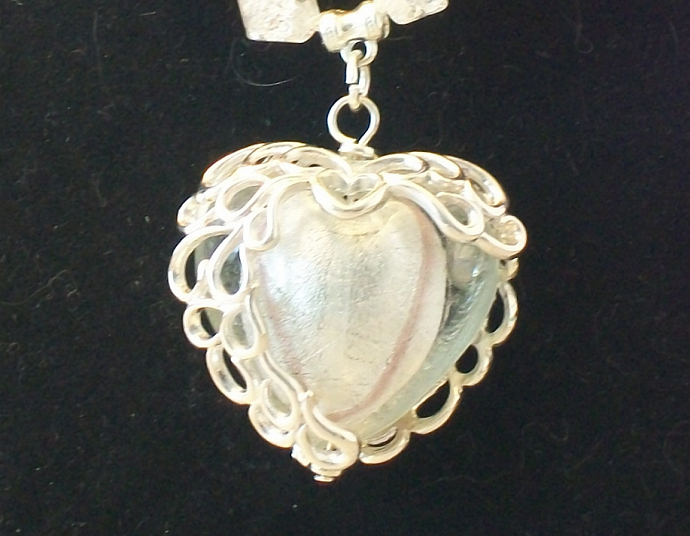 Wire-wrapped White Glass Heart Pendant Necklace