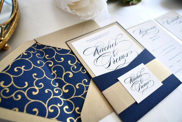 navy blue gold pocket wedding by out the box creative on zibbet