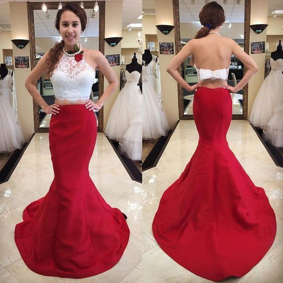 Special Two Piece Red Mermaid Long Prom Dress