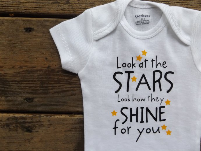 Look at the Stars Onesie Coldplay Hit Baby or Infant Bodysuit One Piece or