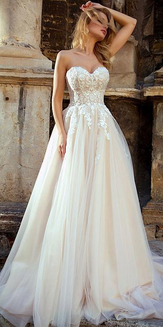 d6fc3725d3a Pretty Tulle Sweetheart Neckline A-line Wedding Dresses With Beadings   Lace