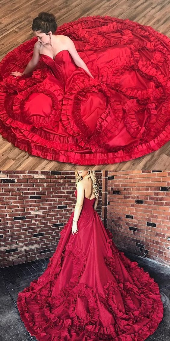 46c864cf674 Princess Strapless Red Long Prom Dress Ball Gown by RosyProm on Zibbet