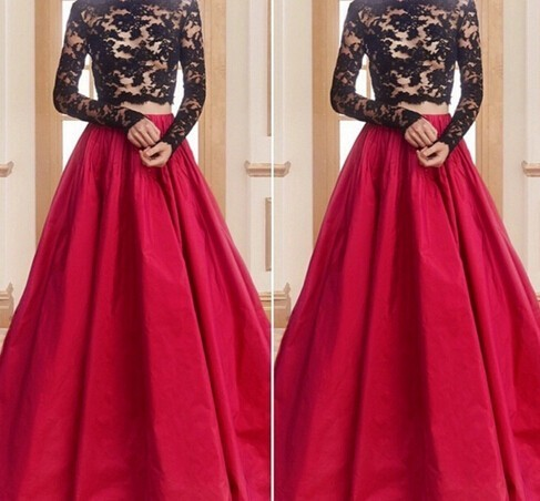 Two Piece Red Prom Dress,Bateau Neck Court Train Prom Dress,Taffeta Crop Tops A