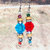 Dangle Earrings beaded with Natural Wood and lots of Color and Sparkle