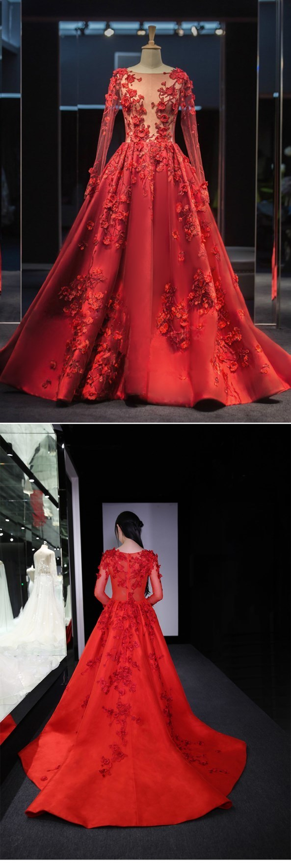 New Long Sleeve ball gowns Hand Made Tulle Back Tail Prom Dresses, Prom Dress