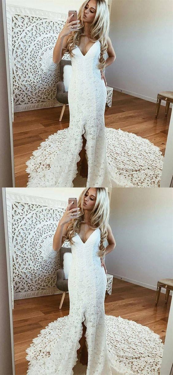Sheath Spaghetti Strap Wedding Dresses