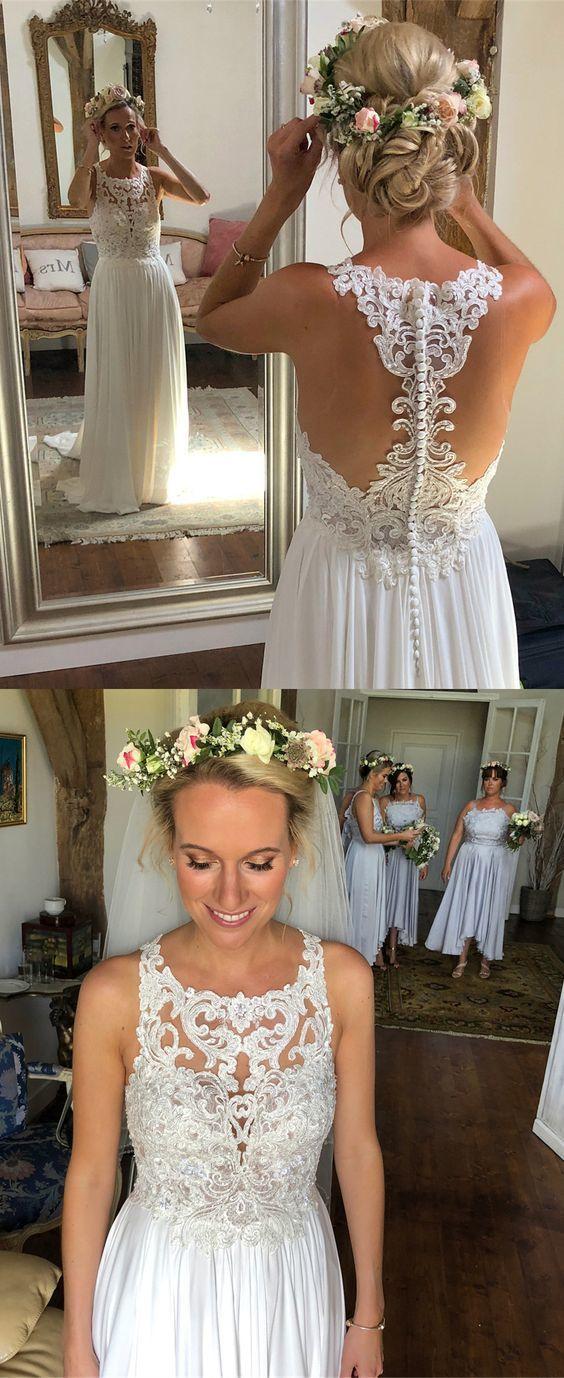 white long wedding dress, boho wedding dress, beach wedding dress, summer