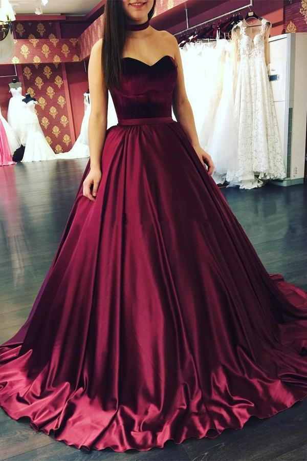 Burgundy Ball Gown Sweep Train Sweetheart Sleeveless Cheap Prom Dress,Evening