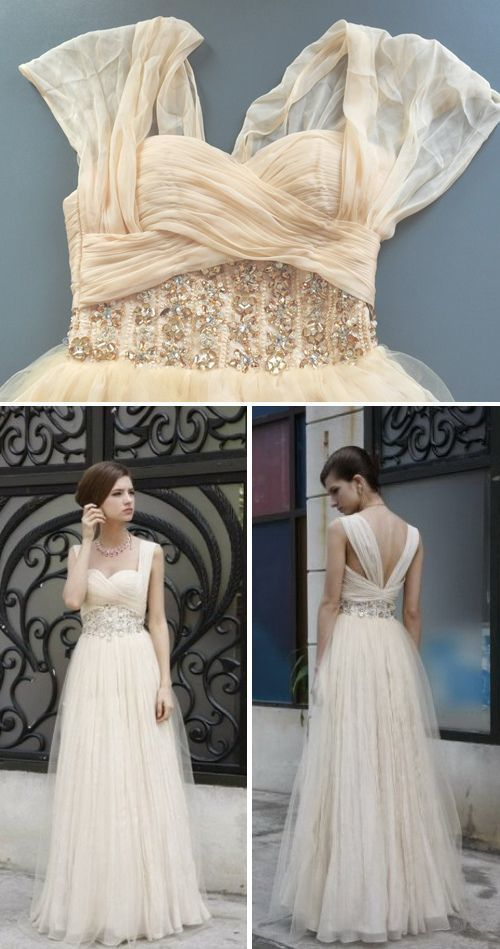 Light Champagne Prom Dress,Modest Prom Gown,Straps Prom Gowns,Beaded Evening