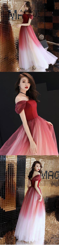 Unique burgundy off shoulder tulle long prom dress, burgundy evening dress