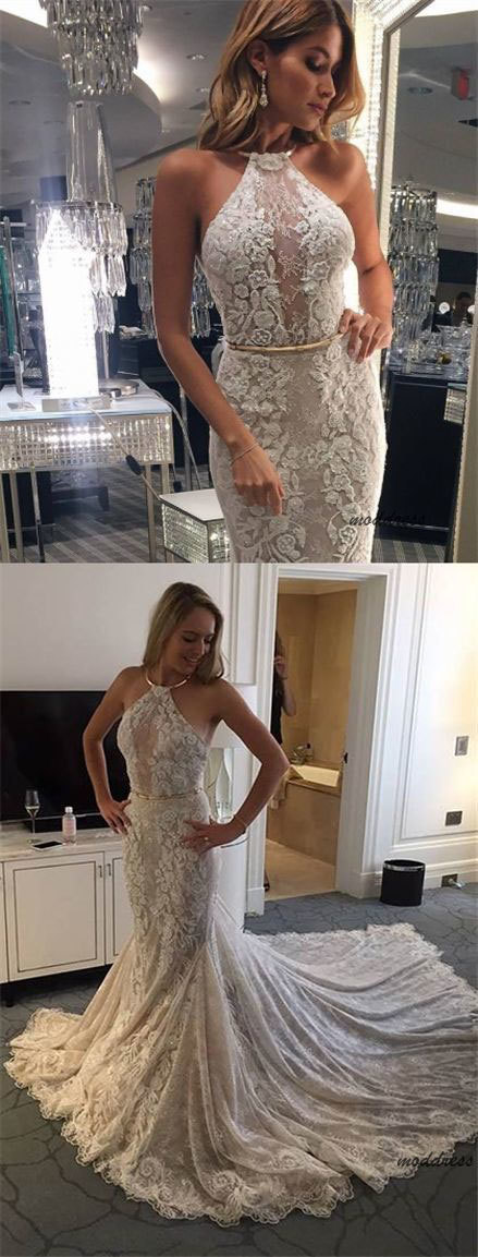 Mermaid Halter Backless Court Train Wedding Dress with Appliques BD1633