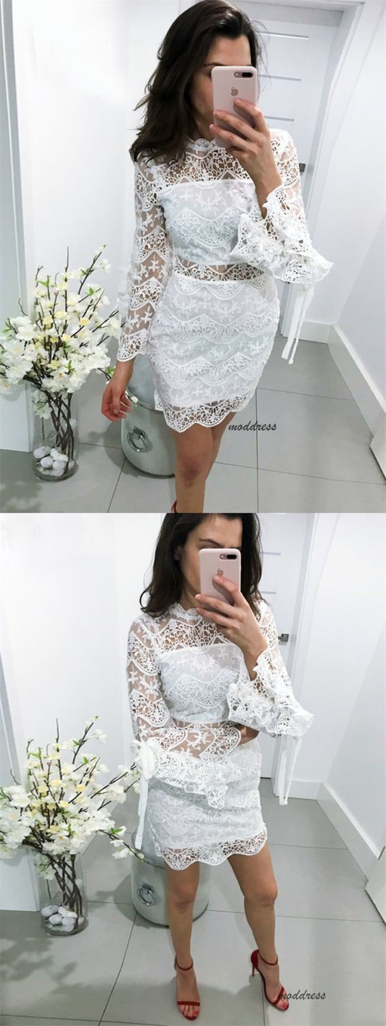 Sheath High Neck Bell Sleeves Short White Lace Homecoming Party Dress BD1625