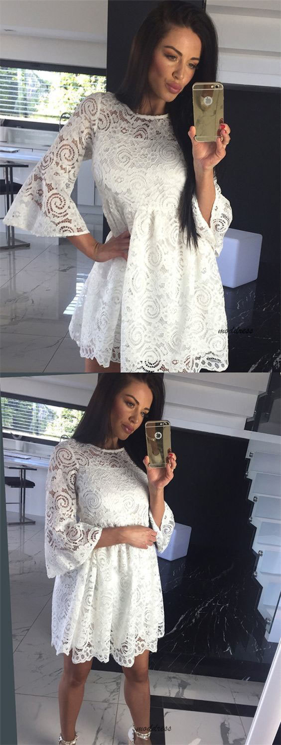 A-Line Crew Bell Sleeves Short White Lace Homecoming Party Dress BD1624