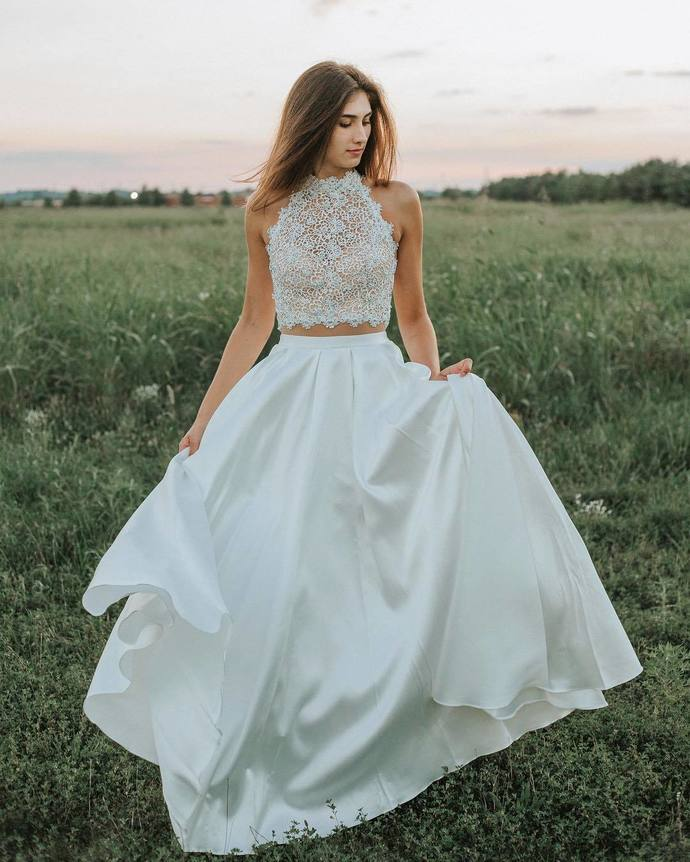 b3129387003 Gorgeous High Neck Two Piece Lace Prom Dress,White Long Wedding Dress ,Long  Prom