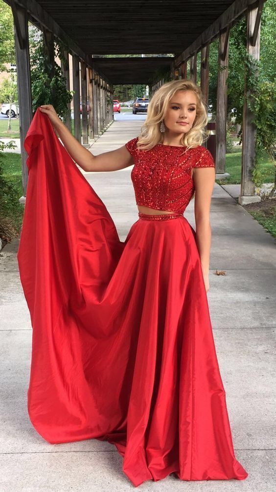 Red Two Pieces A-line Prom Dress, Charming Evening Dress with Beaded Top