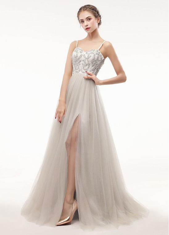 Alluring Tulle Spaghetti Straps Neckline Floor-length A-line Prom Dress With