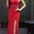 Nueva sirena vino rojo Prom Dresses sin mangas de cristal rebordear elegante