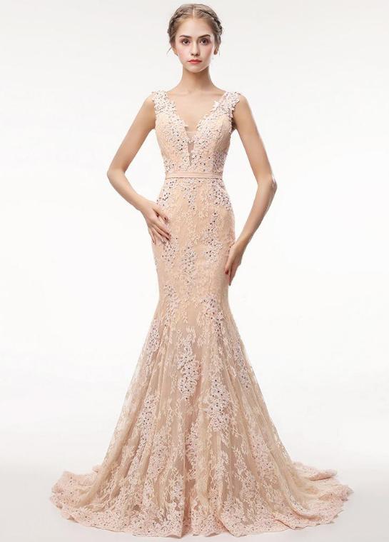 Stunning Lace V-neck Neckline Floor-length Mermaid Evening Dress With Belt &