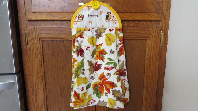 Fall Leaf Dish Towel Thanksgiving Kitchen Towel Hanging Dish Towel Tie Towel