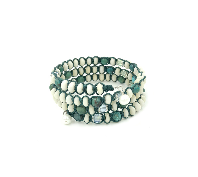 Turquoise and White Bamboo Coral Wrap Bracelet