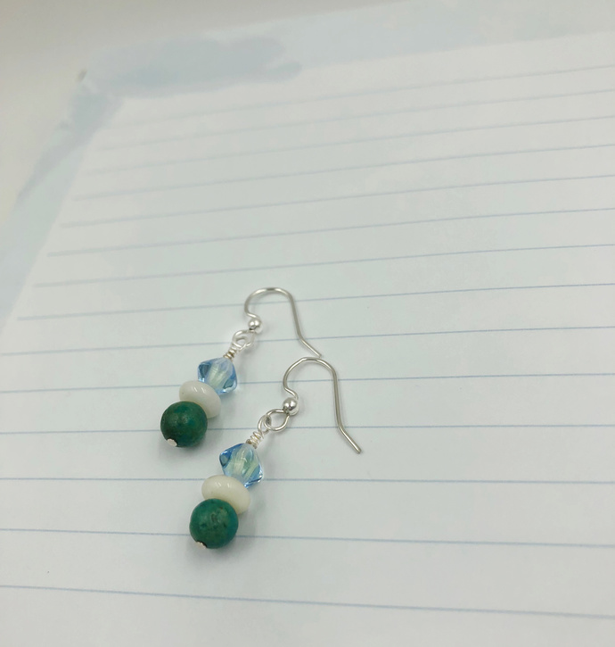 Turquoise and Caribbean blue Sterling Silver Earrings