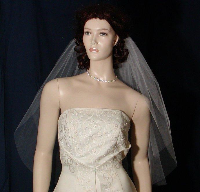 Light Ivory Wedding Veil , 2 tier elbow length with a plain cut raw edge