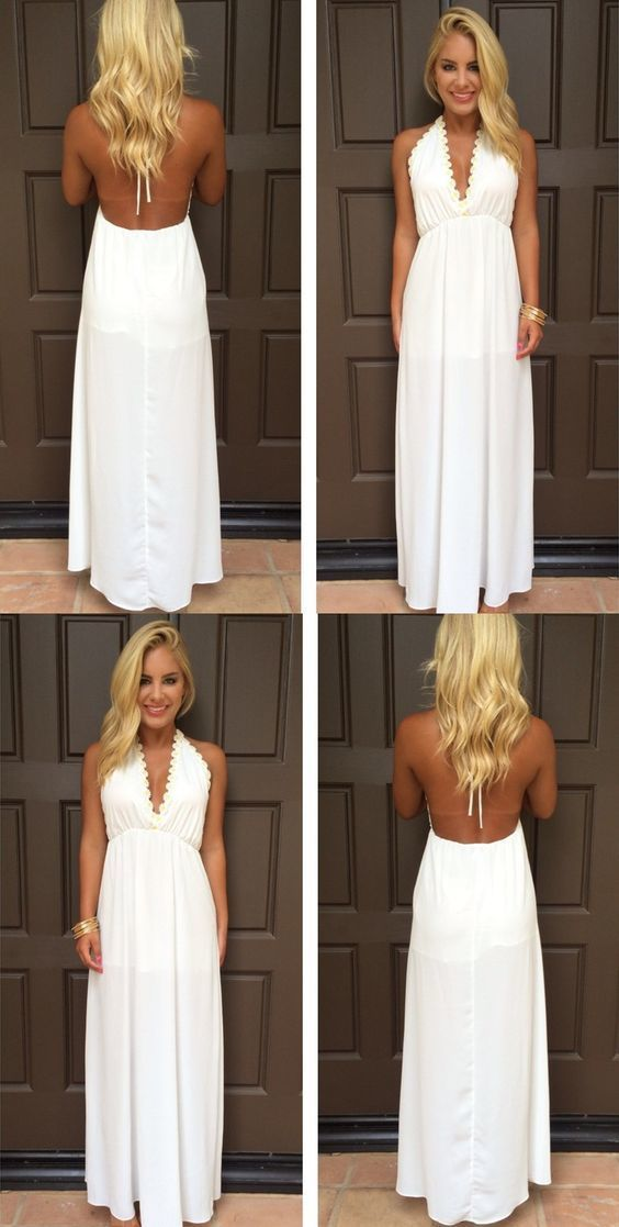 Modest Prom Dresses,Sexy New Prom Dress,White V-Neck Evening Gowns Backless Maxi