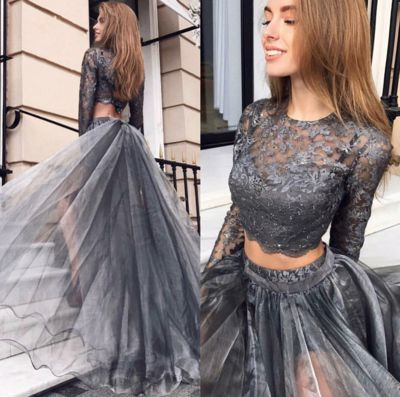0a6372186fbb1 Two Pieces Prom Dress,Long Sleeve Lace Party Dress, Evening Dress,Custom  Made