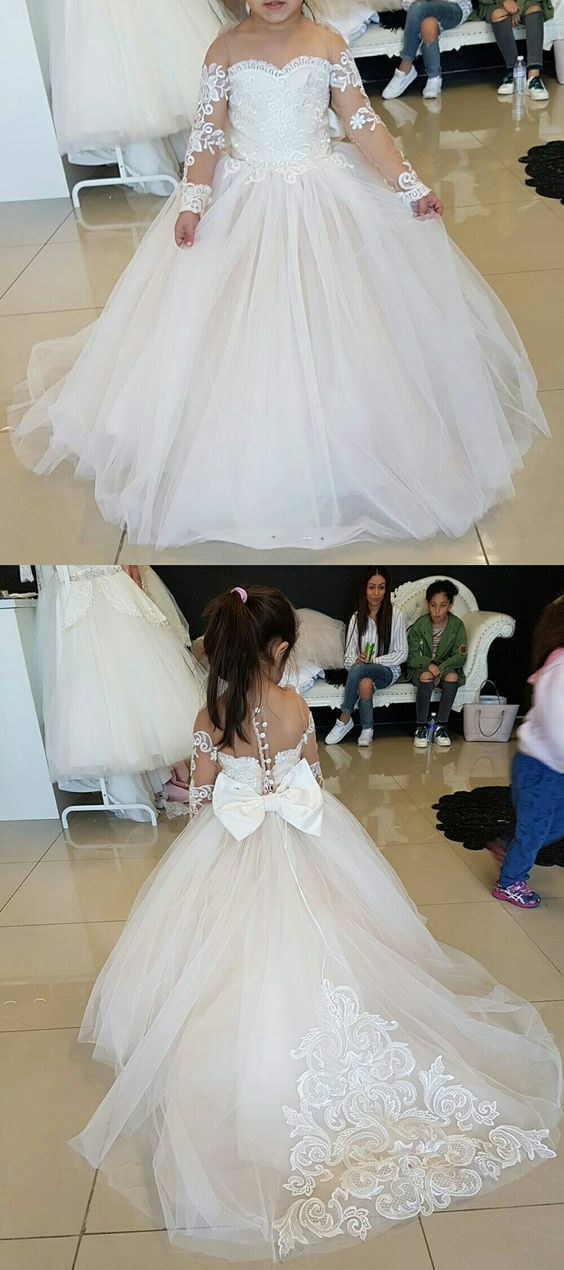 1266c373313 Cute Long Sleeves Ball Gown Flower Girl Dresses with Bow
