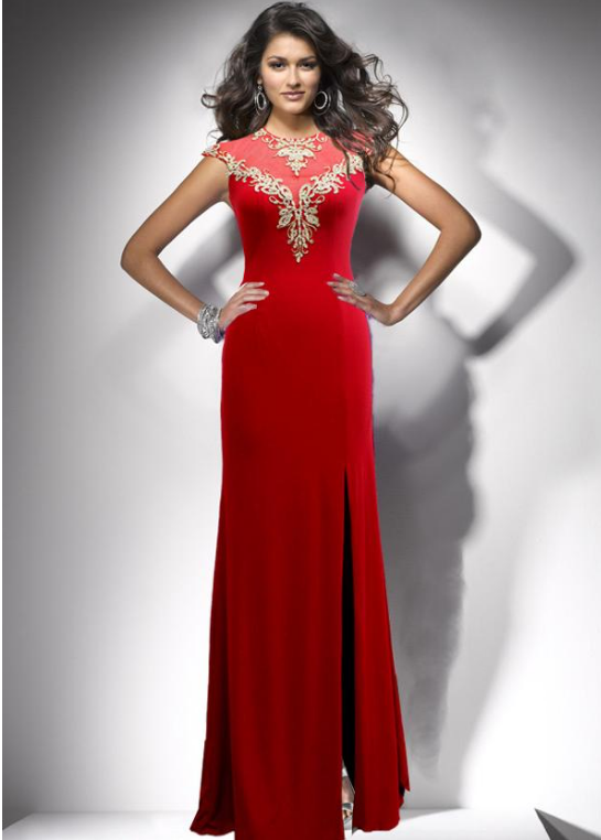 Elegant Crystal Shuangma Jewel Neckline Sheath/Column Evening Dress With
