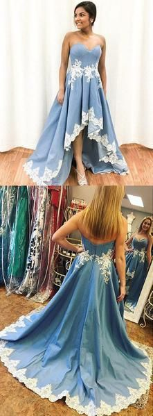 ac856e34816 Sky Blue Strapless High Low Appliques Prom by RosyProm on Zibbet