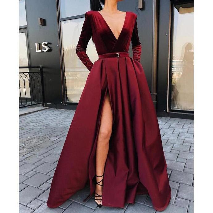 Burgundy V Neck Long Sleeves Side Slit Long Prom By Lass