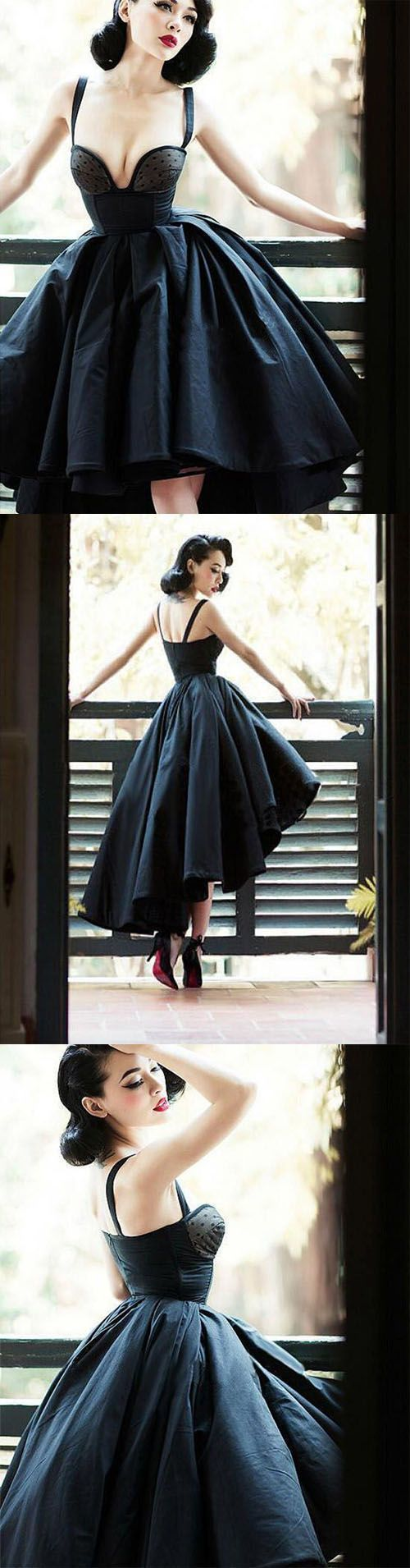 Glamorous A Line Straps High Low Black Satin Prom Homecoming Dress