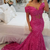 Fushia Prom Dresses, Off the Shoulder Prom Dress, Mermaid Prom Dresses, Lace