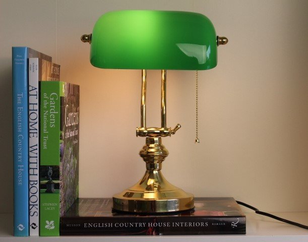Solid Brass Bankers Lamp Green Glass England London library university edwardian