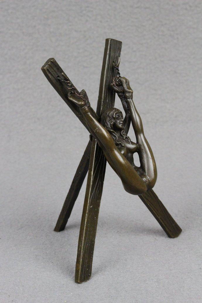 Bronze Sculpture Erotic Art Bondage Girl figurine bdsm s&m Handcuffed Female