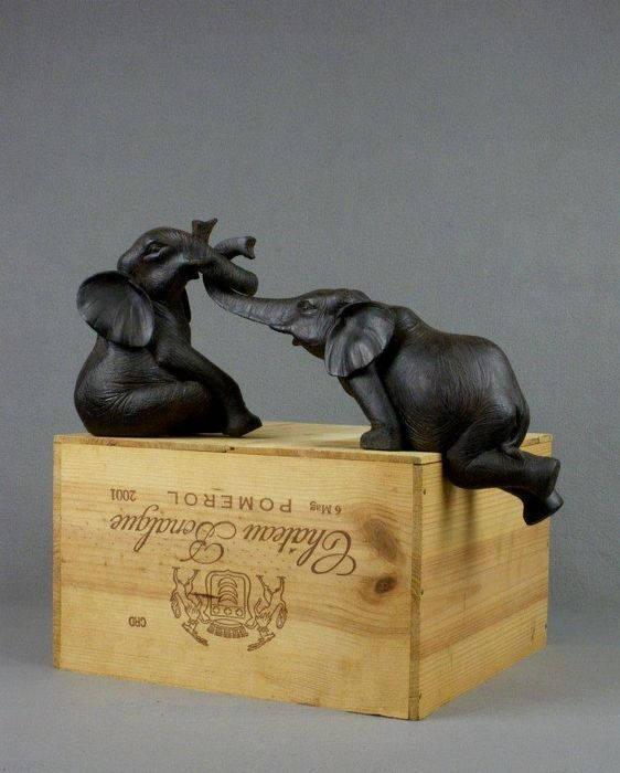 Vintage Elephant Friends Sculpture figurine Love Friendship statue