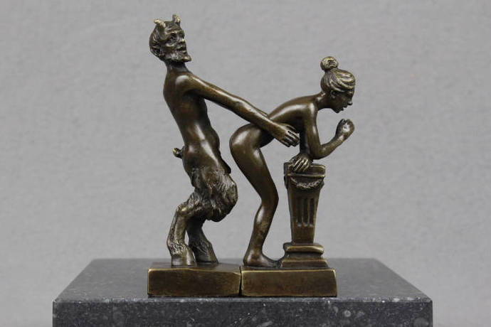 Bronze sculpture Naughty Devil with Female Nude Naked Girl Faun figurine erotic
