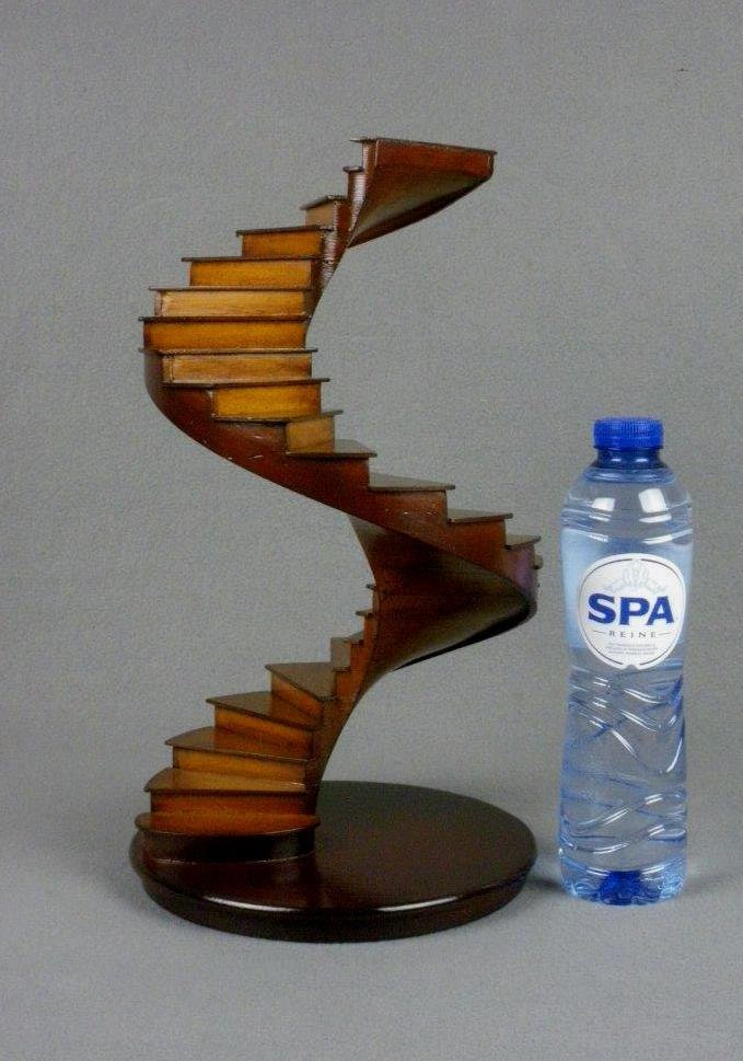 Architectural wooden Model Spiral Stairs Handmade wood Architecture Maquette