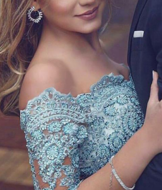 Graceful Satin Chiffon Off-the-shoulder Neckline 3/4 Length Sleeves A-line Prom