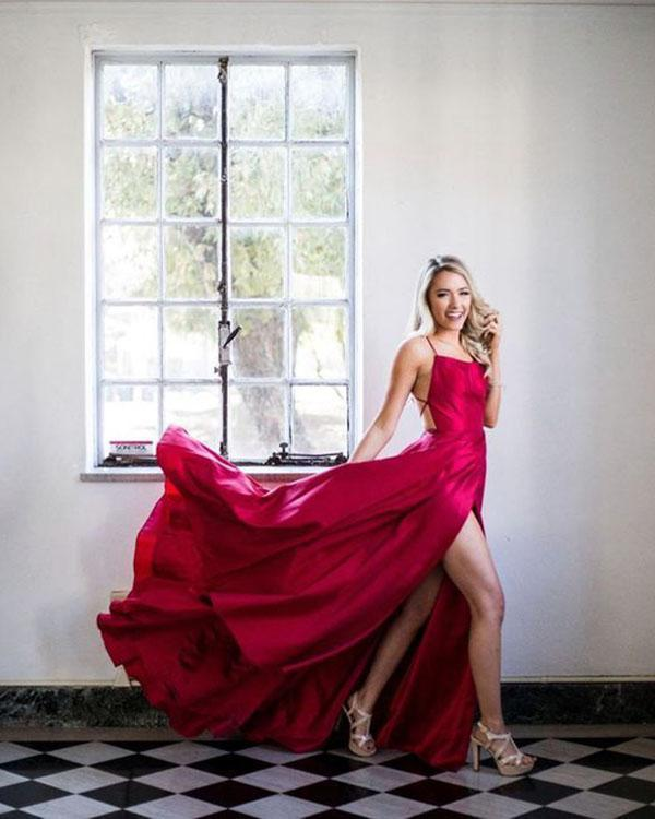Ruffles Sexy Split Side Long Party Gowns Sexy Burgundy Criss-Cross Straps Prom