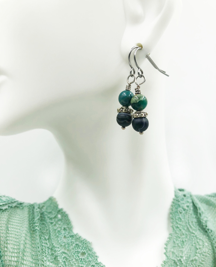 Black Stone and Turquoise Matrix Earrings